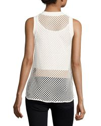 X By Gottex White Solid Crewneck Mesh Top