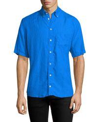 Eton of Sweden - Blue Linen Short Sleeve Sport Shirt for Men - Lyst