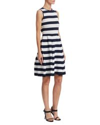 Carolina Herrera Blue Striped Sweater Dress