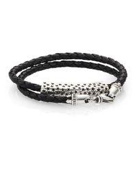 King Baby Studio - Black Stars Double-wrap Leather Bracelet for Men - Lyst