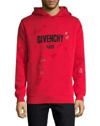 Givenchy Red Distressed Cotton Logo Hoodie for men
