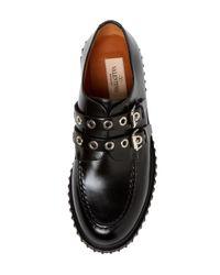 Valentino Black Leather Platform Oxford