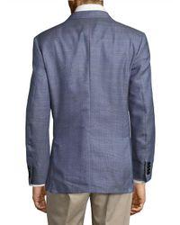 Brioni Blue Glen Notch-lapel Plaid Jacket for men