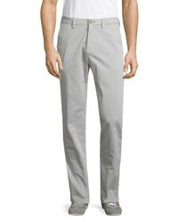 Saks Fifth Avenue Gray Stretch Cotton Chinos for men