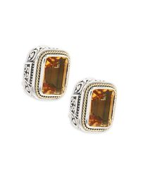 Effy Metallic Citrine, 18k White Gold & Sterling Silver Stud Earrings