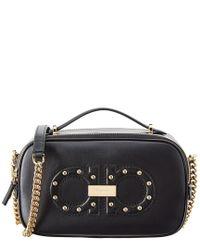 Ferragamo Pink Funk Leather Chain Shoulder Bag