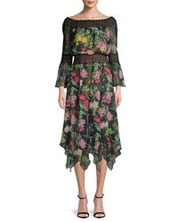 Tadashi Shoji - Black Floral Lace Bell-sleeve Dress - Lyst