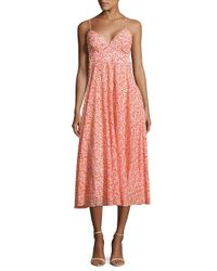 Rebecca Taylor | Red Printed Crisscross-back Cotton Dress | Lyst