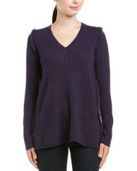 White + Warren Purple Cashmere Sweater