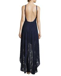 Laundry by Shelli Segal Blue Hi-lo Lace Gown