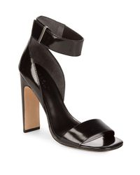 Halston Heritage Black Open Toe Leather Sandals