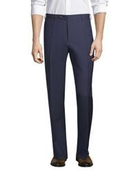 Canali Blue Wool Straight Leg Trousers for men