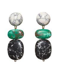 Lele Sadoughi Green Boulder 14k Plated Drop Earrings