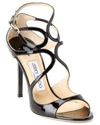 Jimmy Choo Black Lang 100 Patent Sandal