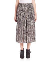 Haute Hippie Multicolor Snake-print Silk Midi Skirt