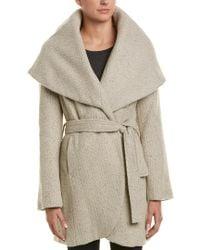 T Tahari White Marla Tweed Wool-blend Coat