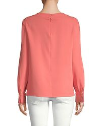 Oscar de la Renta - Pink Long-sleeve Stretch-silk Blouse - Lyst