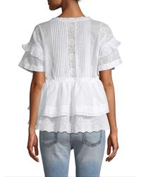 The Kooples White Embroidered Lace-up Blouse