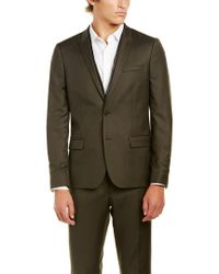 The Kooples Green Military Twill Fitted Wool Sportcoat for men
