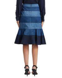 Carolina Herrera Blue Denim Trumpet Skirt