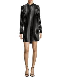 Equipment Black Carmine Silk Striped Shirtdress