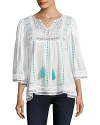 Plenty by Tracy Reese - Multicolor Cotton Embroidered Blouse - Lyst