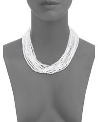 Saks Fifth Avenue | White Silvertone Multi-strand Faceted Bead Necklace | Lyst