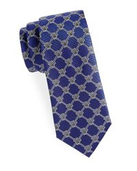 Versace Purple Diamond Pattern Logo Silk Tie for men
