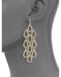 ABS By Allen Schwartz - Metallic Pave Beach Chandelier Earrings - Lyst