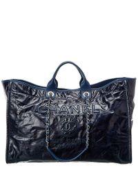 Chanel Navy Blue Canvas Xl Deauville
