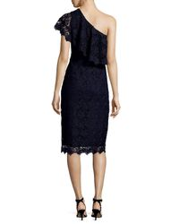 Nanette Lepore Blue One Shoulder Lace Sheath W/flounce Neckline