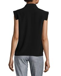 Emanuel Ungaro Black Layered Tie-neck Blouse