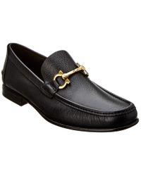 Ferragamo Black Fiordi Gancio Bit Leather Moccasin for men