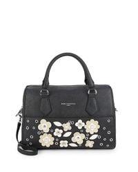 Karl Lagerfeld Black Floral Patch Convertible Satchel