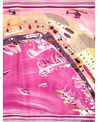 Louis Vuitton Vintage Pink Watercolor Abstract Print Silk Scarf