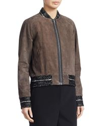 Yigal Azrouël Brown Snakeskin-embossed Leather Bomber Jacket