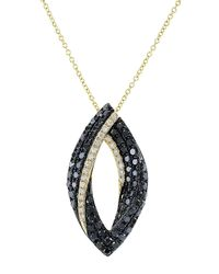 Effy Metallic Caviar 14k Yellow Gold Black Diamond Pendant Necklace