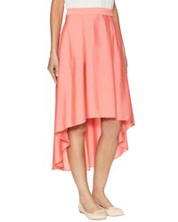 Elorie Pink High-low Hem Midi Skirt