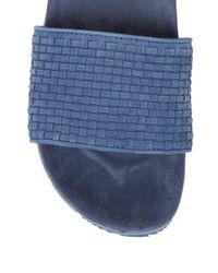 Saks Fifth Avenue Blue Leather Weave Pool Slides