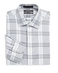 Saks Fifth Avenue Gray Classic-fit Long-sleeve Dress Shirt for men