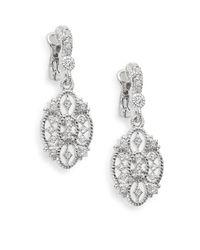Judith Ripka Metallic Castle White Sapphire & Sterling Silver Openwork Earrings