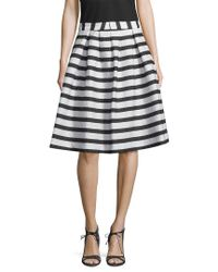 Armani Exchange Blue Stripe Flare Skirt