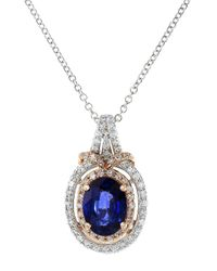 Effy - Metallic 14k White And Rose Gold Sapphire And Diamond Pendant Necklace - Lyst