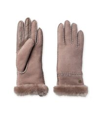 Ugg - Brown Exposed Slim Sheepskin-trimmed Leather Gloves - Lyst