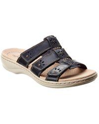 Clarks Blue Leisa Leather Sandal