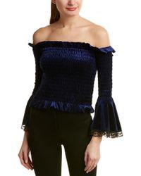 Gracia Blue Off-the-shoulder Smocked Velvet Bell Sleeve Top