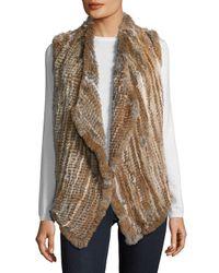 Saks Fifth Avenue - Natural Asymmetrical Rabbit Fur Vest - Lyst