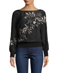 Plenty by Tracy Reese - Black Floral Print Blouse - Lyst