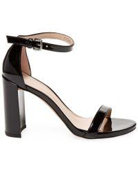 Stuart Weitzman Black Walkway Patent Sandal