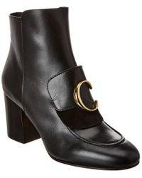 Chloé Black C Laurena Leather Bootie
